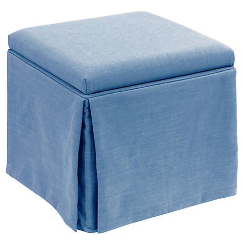 Anne Skirted Storage Ottoman, French Blue Linen