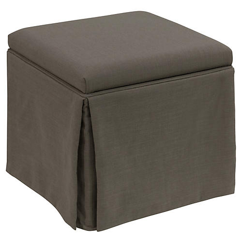 Anne Skirted Storage Ottoman, Charcoal