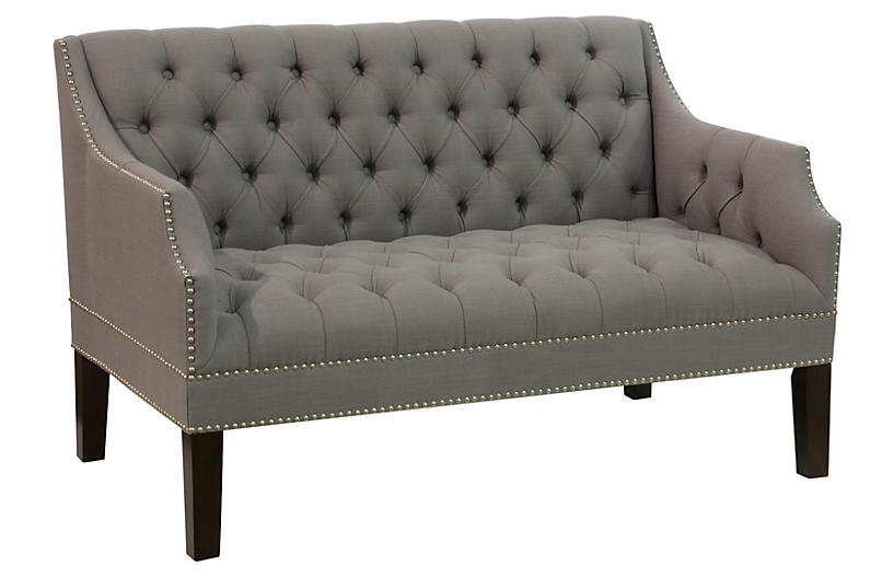 Laura Tufted Settee, Gray