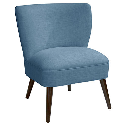 Bailey Accent Chair, French Blue Linen