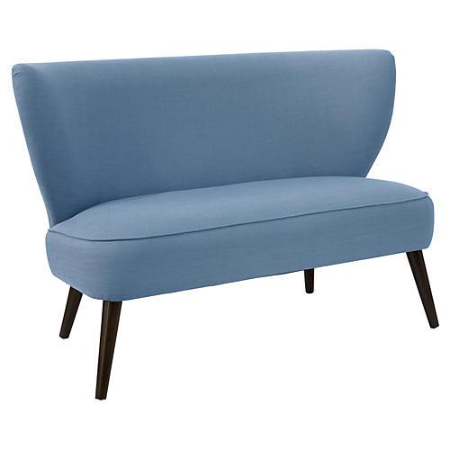 Heidi Settee, French Blue Linen