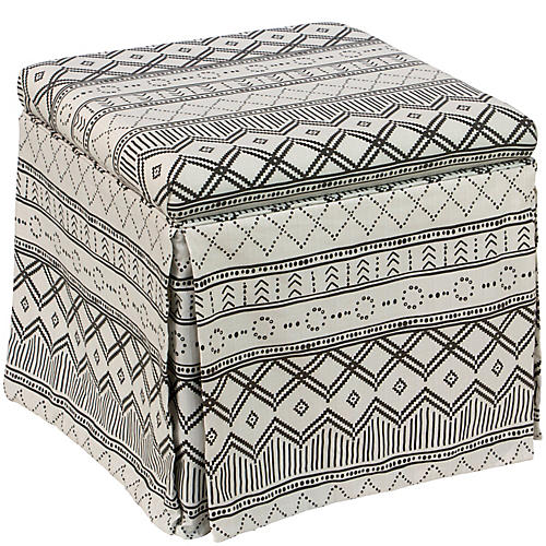 Anne Skirted Storage Ottoman, Kuba Ink