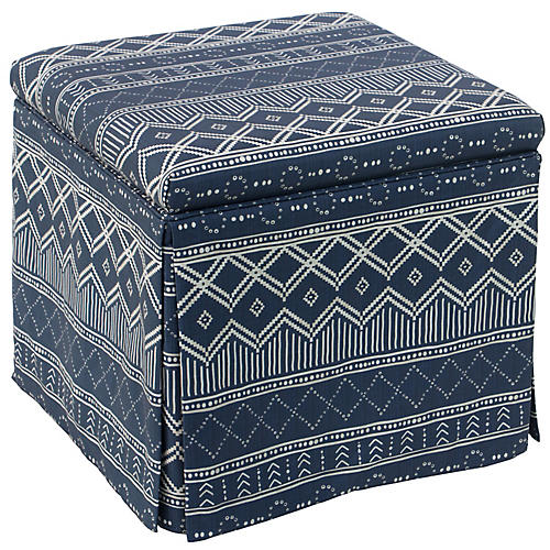 Anne Skirted Storage Ottoman, Kuba Navy