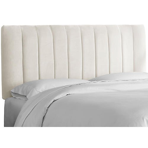 Delmar Channel Headboard, Ivory Velvet