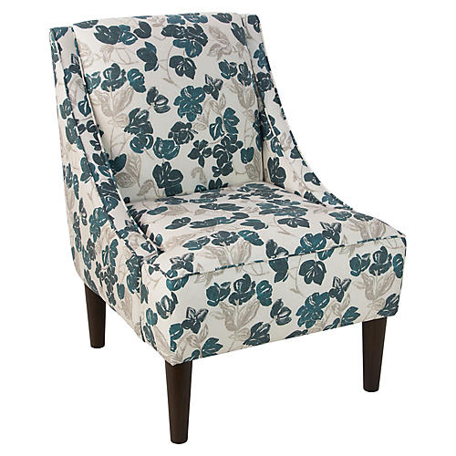 Quinn Swoop-Arm Accent Chair, Bloom Turquoise