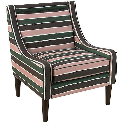 Scarlett Accent Chair, Green/Pink