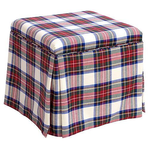 Anne Skirted Storage Ottoman, White Tartan