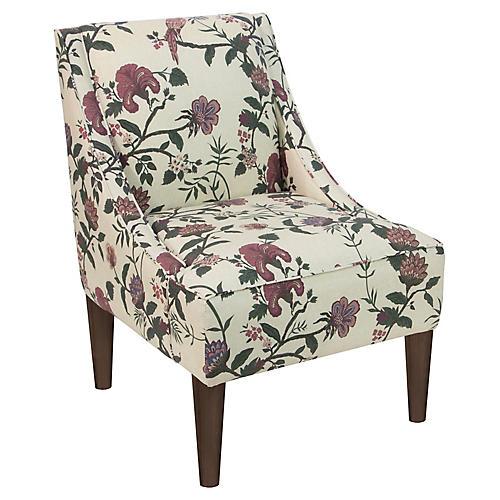 Quinn Swoop-Arm Accent Chair, Shaana Red