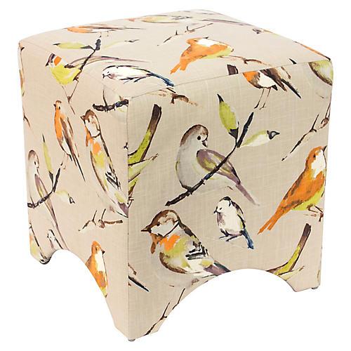 Ellery Cube Ottoman, Birdwatcher Linen
