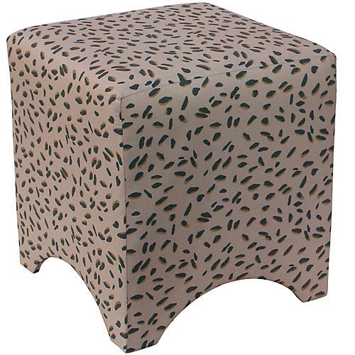 Ellery Ottoman, Taupe Dot Linen