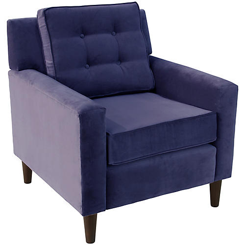 Winston Club Chair, Indigo Velvet