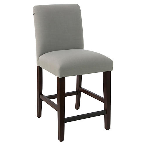 Erin Pleated Counter Stool, Gray Linen