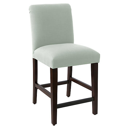 Erin Pleated Counter Stool, Mint Linen