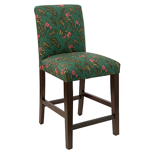 Hewes Tufted Counter Stool, Emerald Linen