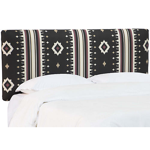 Novak Headboard, Black/Multi Linen