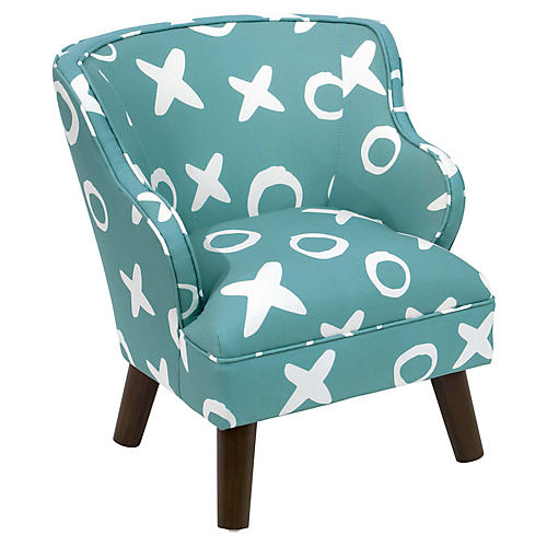 Kira Kids' Accent Chair, Aqua Linen