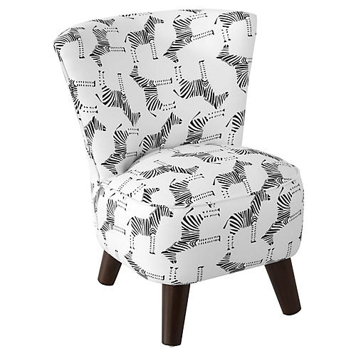 Barnes Kids' Chair, Black/White Linen