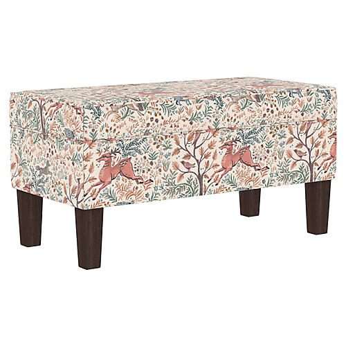 Breene Kids' Storage Bench, Pink/Multi Linen