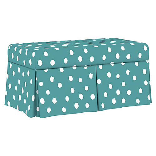 Anne Skirted Storage Bench, Aqua Linen