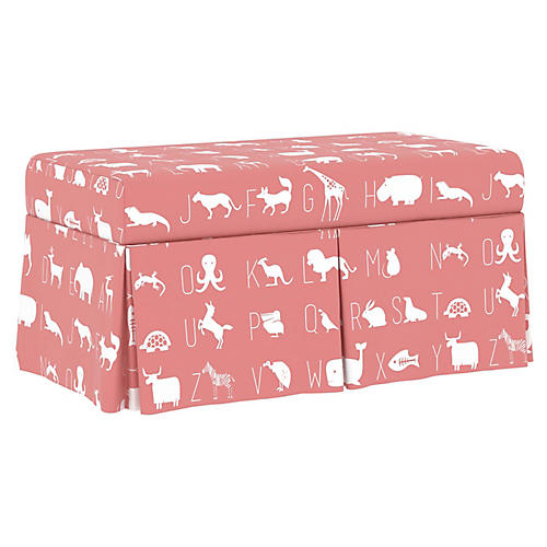 Hayworth Kids' Storage Bench, Pink/White Linen
