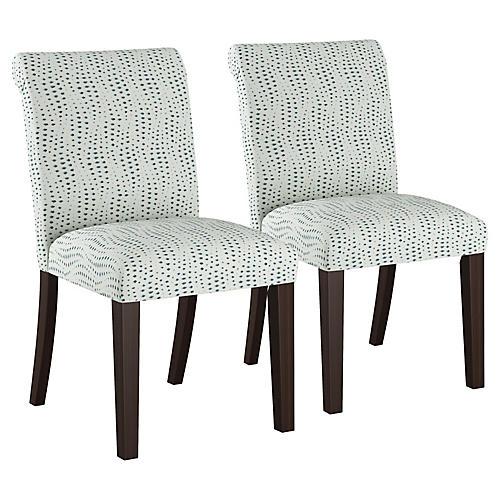 S/2 Carmen Side Chairs, Blue