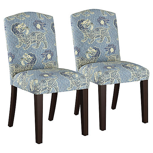 S/2 Marie Side Chairs, Blue/Cream