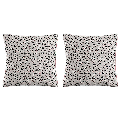 S/2 Neo Leo Pillows, Pink Linen