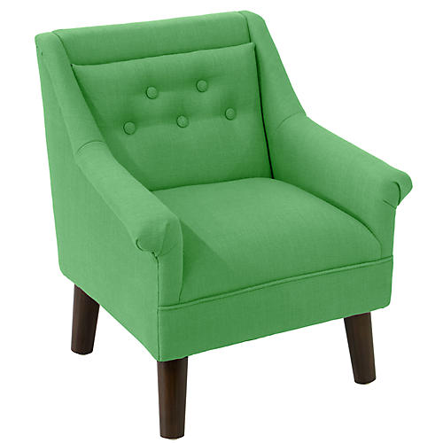 Bella Kids' Accent Chair, Green Linen