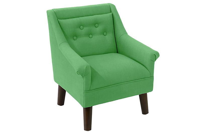 Bella Kids' Accent Chair, Green Linen