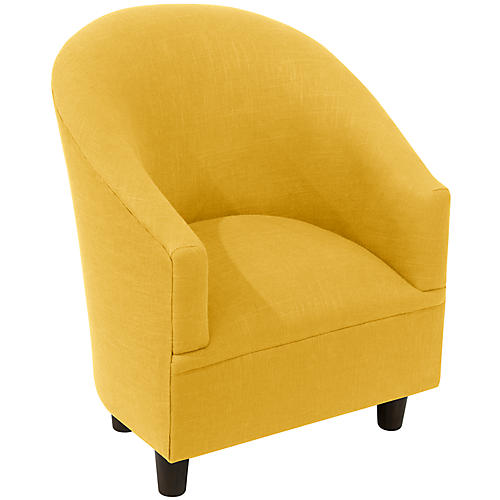 Ashlee Kids' Barrel Chair, Yellow Linen