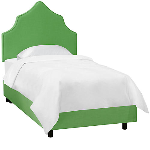 Camille Kids' Bed, Green Linen