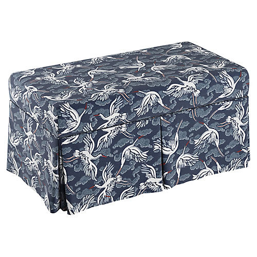 Anne Skirted Storage Bench, Navy Linen