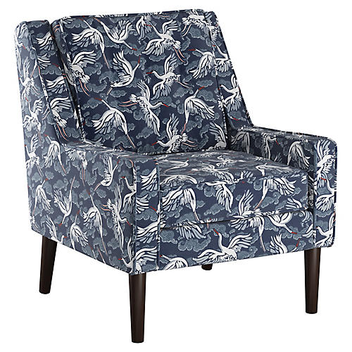 Shara Club Chair, Navy Linen