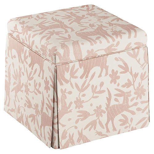 Anne Skirted Storage Ottoman, Pink Otomi