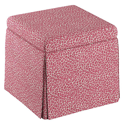 Anne Skirted Storage Ottoman, Pink Leopard