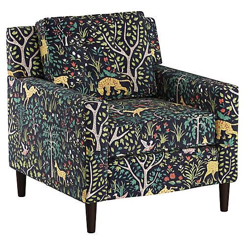 Winston Club Chair, Navy Garden