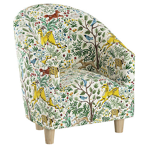 Ashlee Kids' Barrel Chair, Citrus Linen