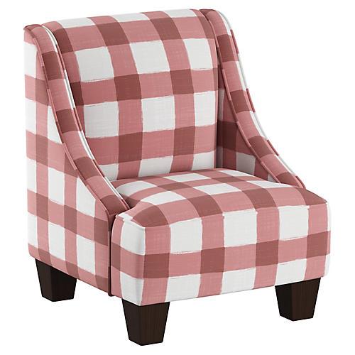 Fletcher Kids' Accent Chair, Pink/White Linen