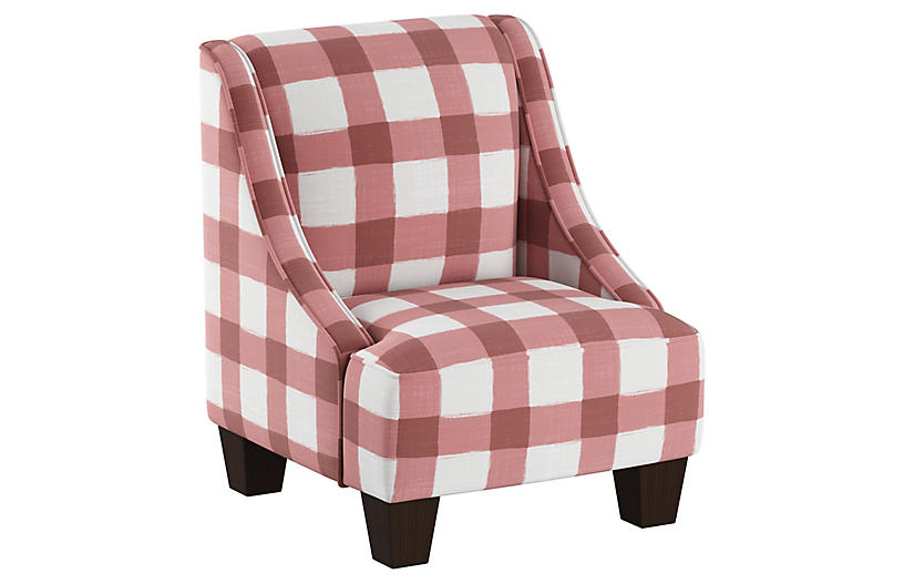 Fletcher Kids' Accent Chair, Pink/White Linen