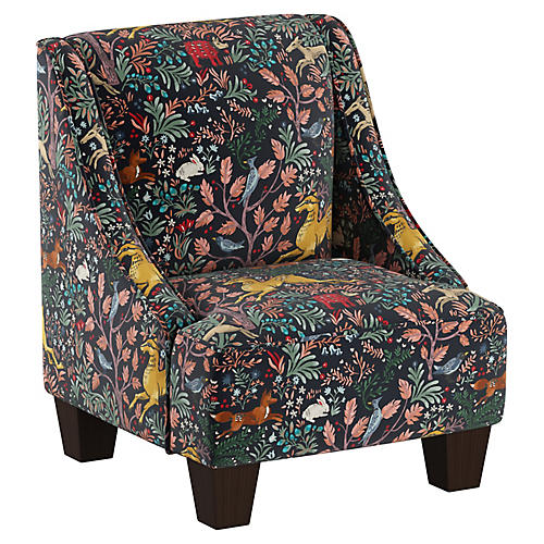 Fletcher Kids' Accent Chair, Navy Linen