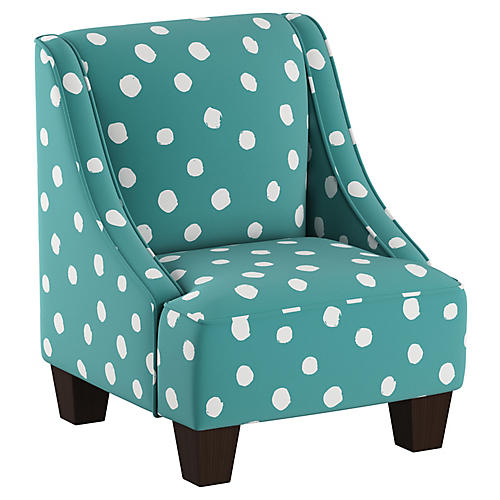 Fletcher Kids' Accent Chair, Aqua/White Linen
