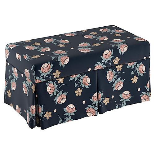 Hayworth Skirted Storage Bench, Navy/Pink Linen