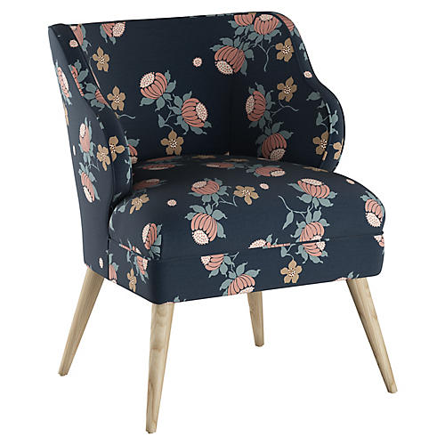 Kira Chair, Navy Floral Linen