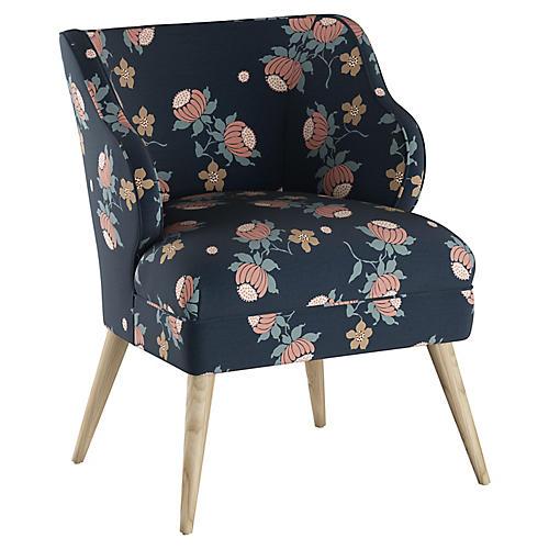 Kira Accent Chair, Navy Linen