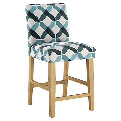Shannon Counter Stool, Teal Linen