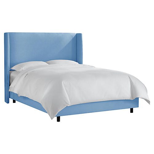 Kelly Wingback Bed, French Blue Linen