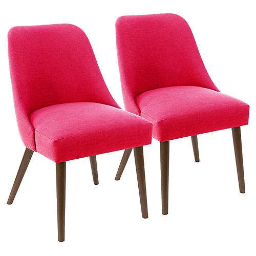 S/2 Barron Side Chairs, Fuchsia Linen