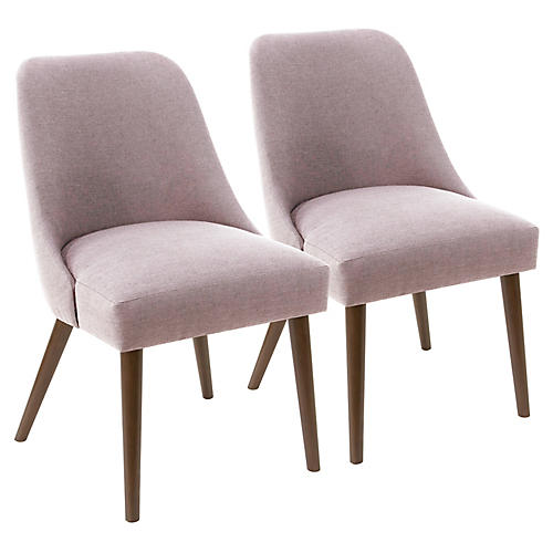 S/2 Barron Side Chairs, Lilac Linen