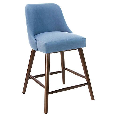 Barron Counter Stool, French Blue Linen