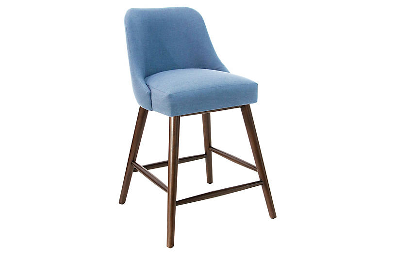 Barron Counter Stool, French Blue Linen
